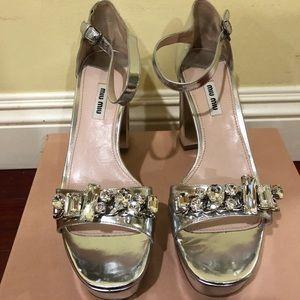 Miu Miu metallic silver sandals size 12 NWB